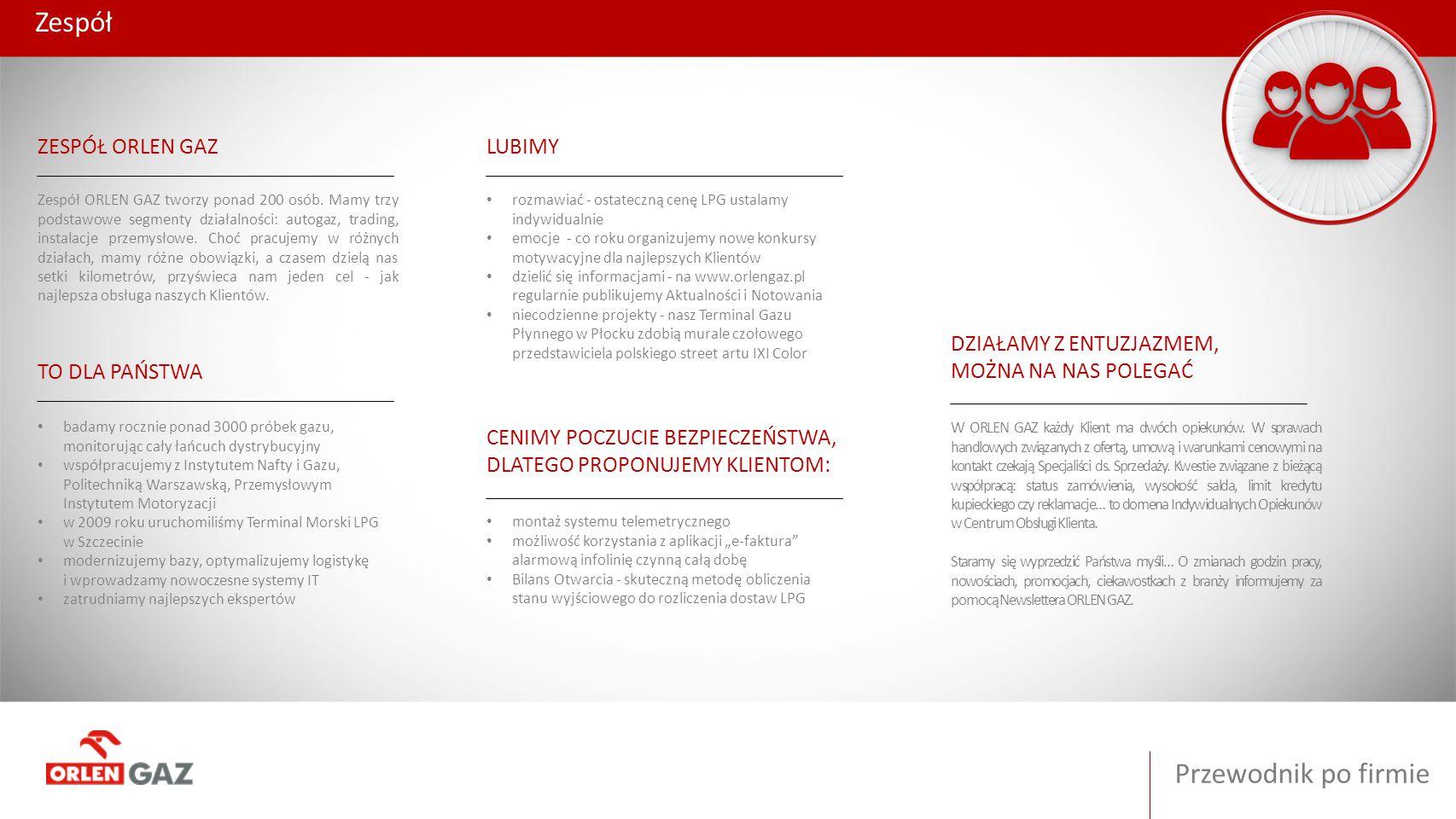 Zespół Przewodnik po firmie ZESPÓŁ ORLEN GAZ LUBIMY