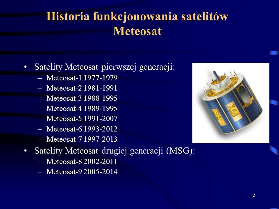 Historia funkcjonowania satelitów Meteosat