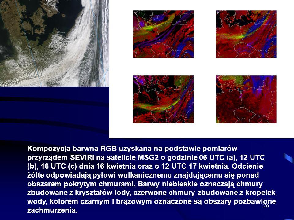 Kompozycja barwna RGB uzyskana na podstawie pomiarów przyrządem SEVIRI na satelicie MSG2 o godzinie 06 UTC (a), 12 UTC (b), 16 UTC (c) dnia 16 kwietnia oraz o 12 UTC 17 kwietnia.