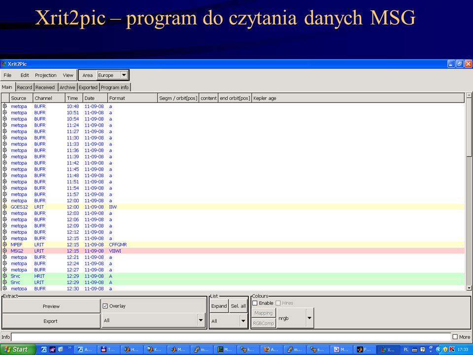 Xrit2pic – program do czytania danych MSG