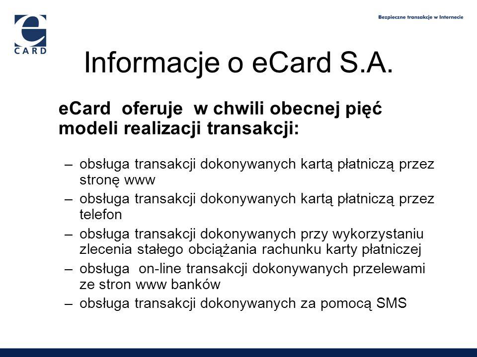 Informacje o eCard S.A. eCard oferuje w chwili obecnej pięć modeli realizacji transakcji: