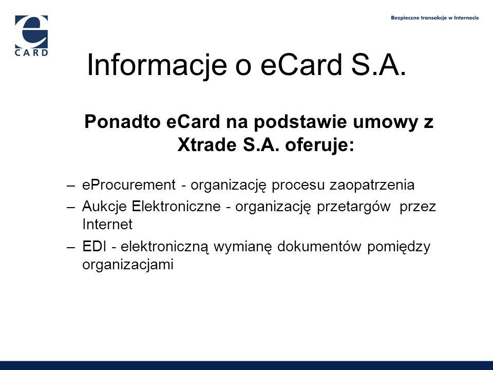 Ponadto eCard na podstawie umowy z Xtrade S.A. oferuje: