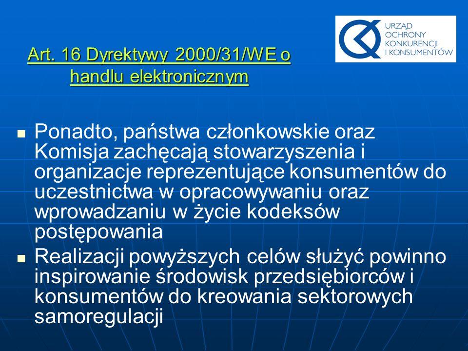 Art. 16 Dyrektywy 2000/31/WE o handlu elektronicznym