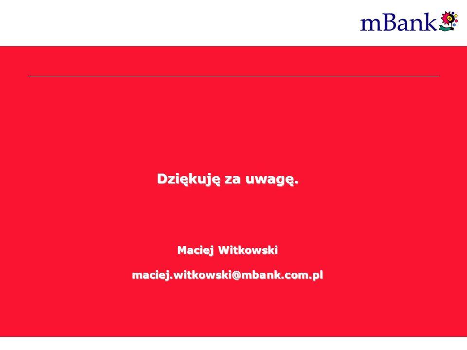 Dziękuję za uwagę. Maciej Witkowski maciej.witkowski@mbank.com.pl