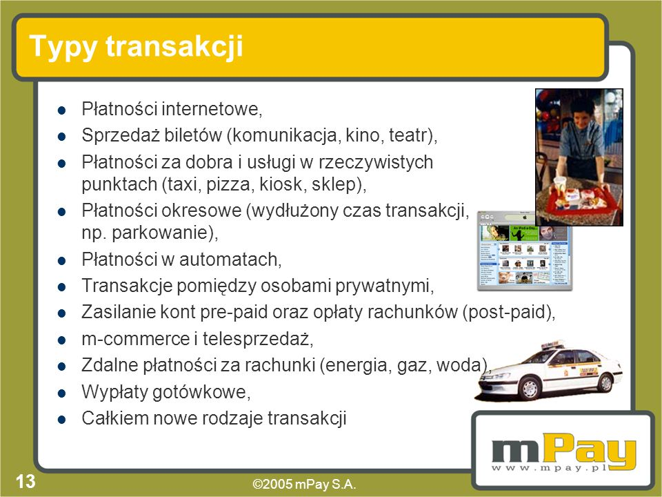 Typy transakcji Płatności internetowe,