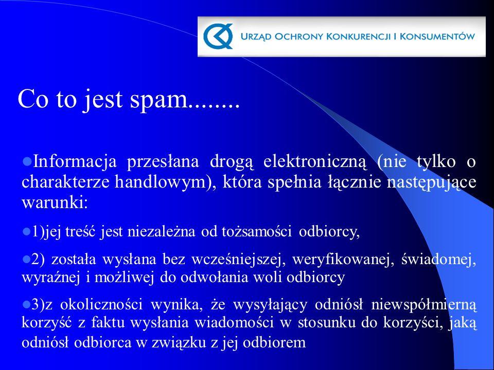 Co to jest spam........ Informacja przesłana drogą elektroniczną (nie tylko o charakterze handlowym), która spełnia łącznie następujące warunki: