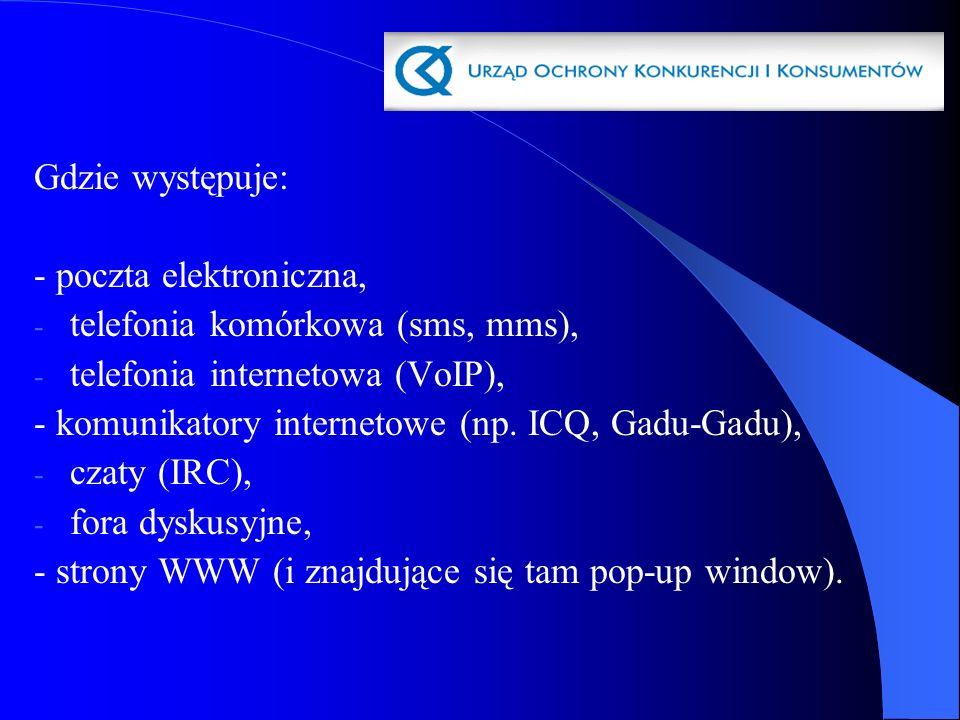 Gdzie występuje: - poczta elektroniczna, telefonia komórkowa (sms, mms), telefonia internetowa (VoIP),