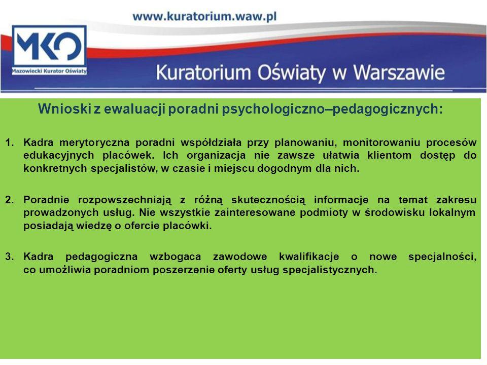 Wnioski z ewaluacji poradni psychologiczno–pedagogicznych: