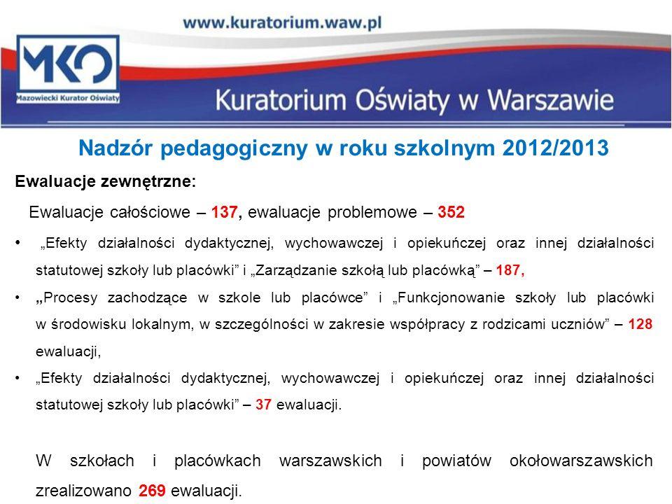 Nadzór pedagogiczny w roku szkolnym 2012/2013