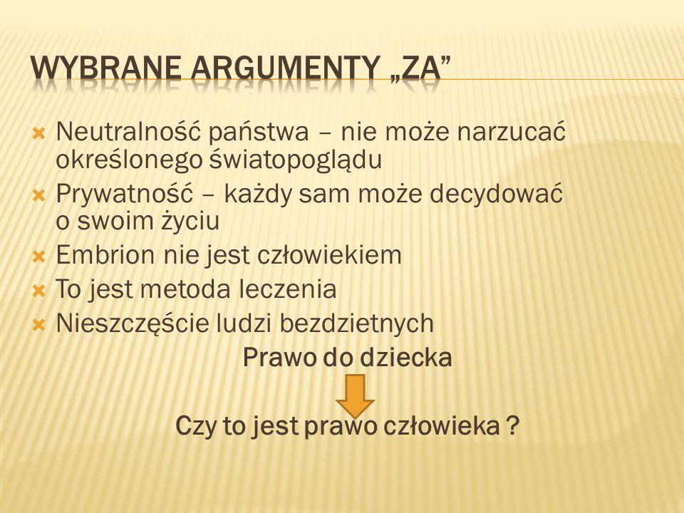 "Wybrane argumenty ""za"