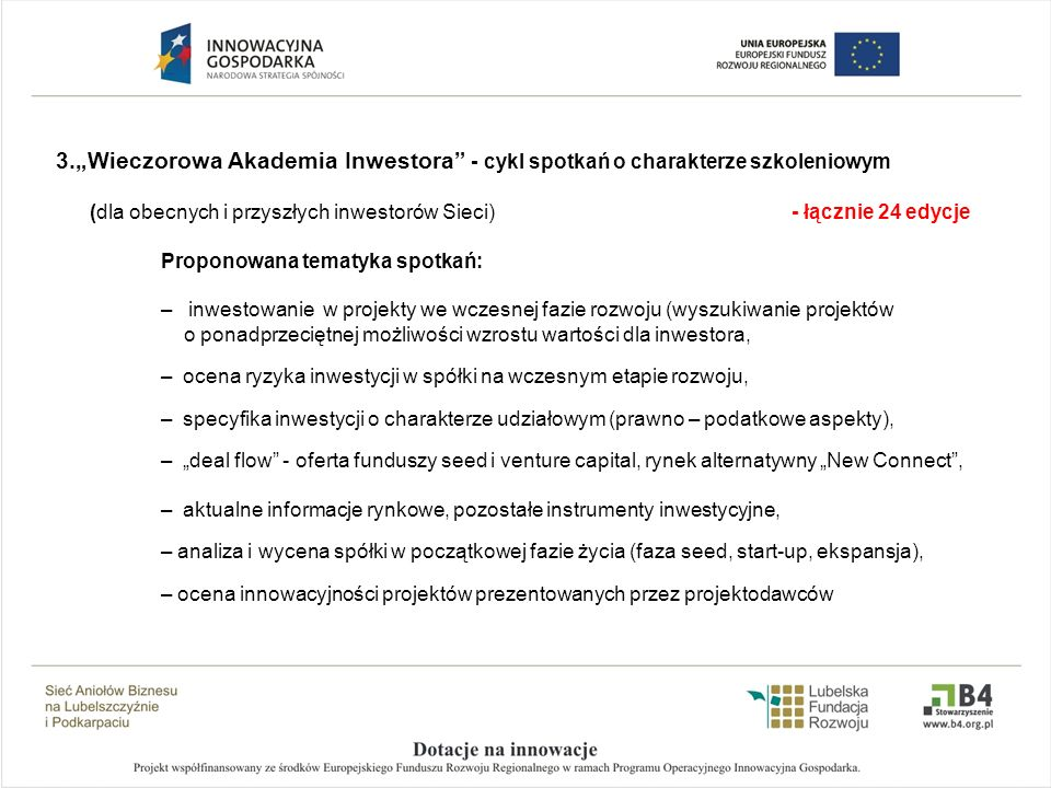 """""""Wieczorowa Akademia Inwestora - cykl spotkań o charakterze szkoleniowym"""