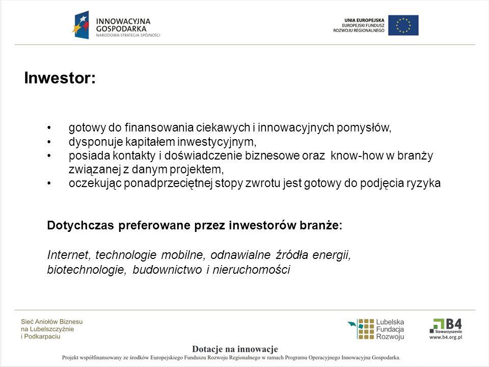 Inwestor: gotowy do finansowania ciekawych i innowacyjnych pomysłów,