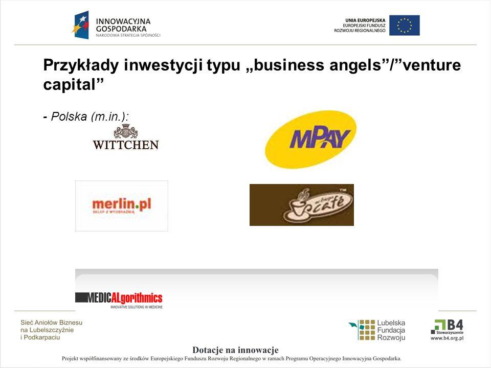 """Przykłady inwestycji typu """"business angels / venture capital"""