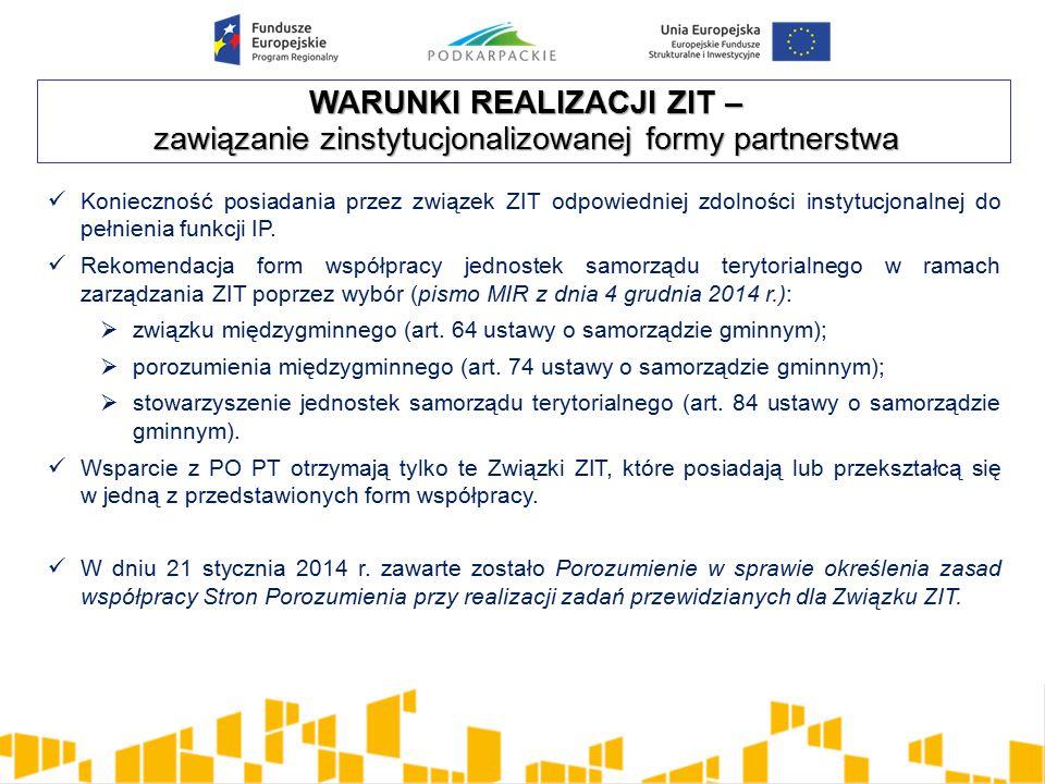 WARUNKI REALIZACJI ZIT – zawiązanie zinstytucjonalizowanej formy partnerstwa