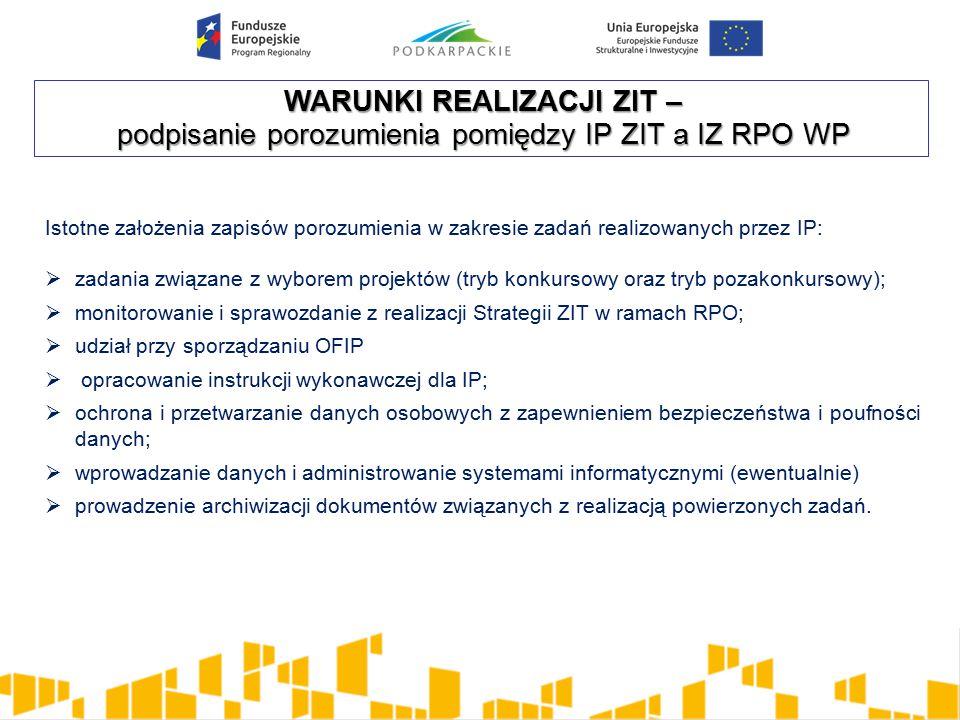 WARUNKI REALIZACJI ZIT – podpisanie porozumienia pomiędzy IP ZIT a IZ RPO WP