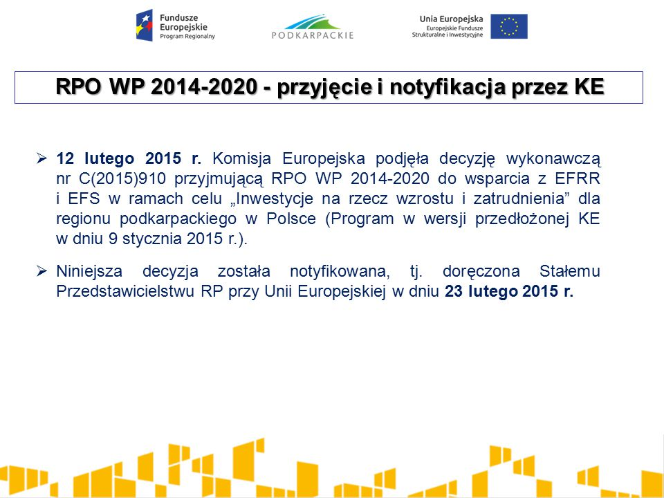 RPO WP 2014-2020 - przyjęcie i notyfikacja przez KE