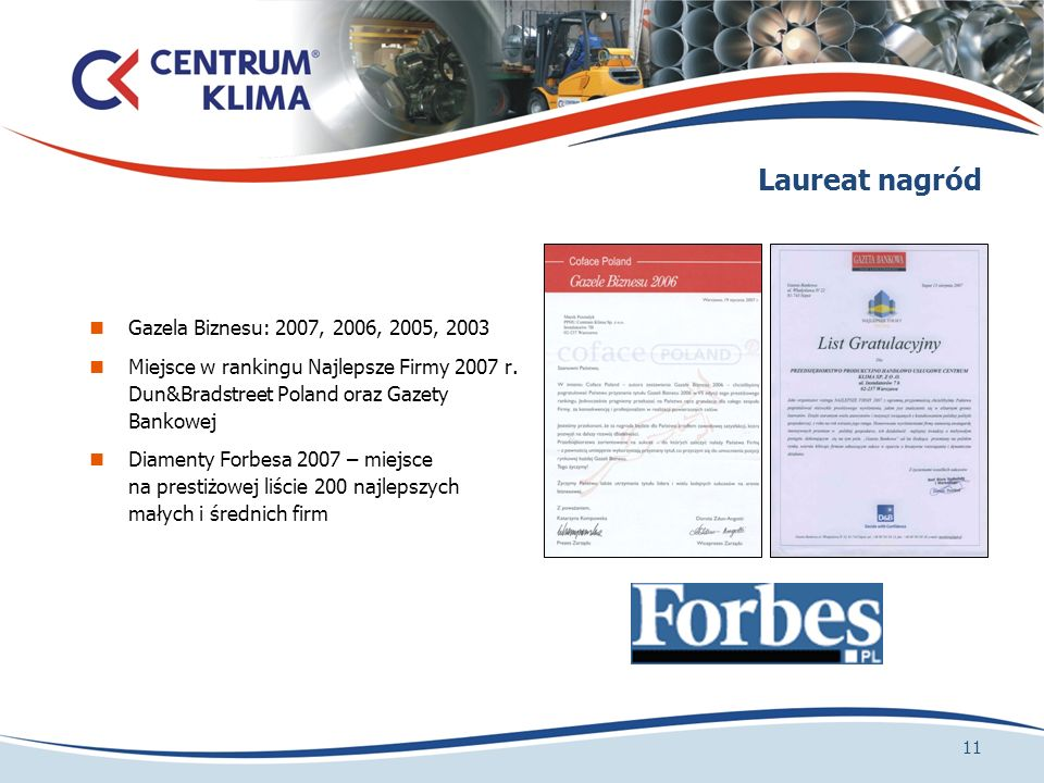 Laureat nagród Gazela Biznesu: 2007, 2006, 2005, 2003