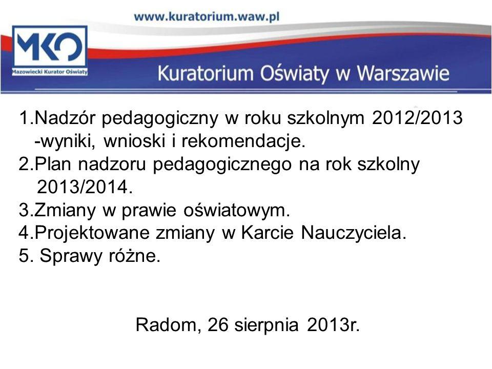 1.Nadzór pedagogiczny w roku szkolnym 2012/2013