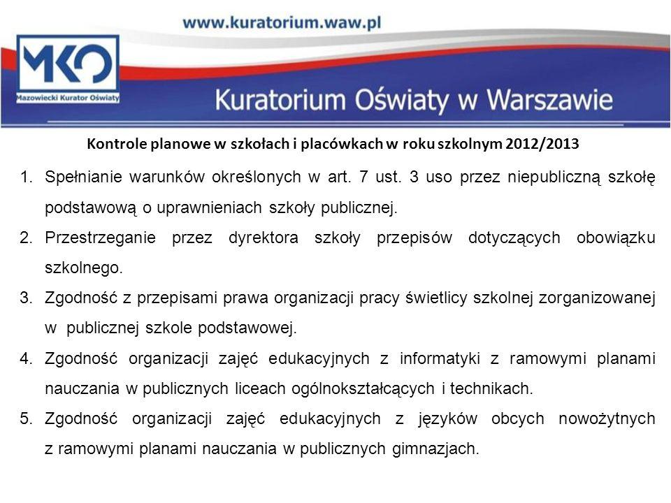 Kontrole planowe w szkołach i placówkach w roku szkolnym 2012/2013