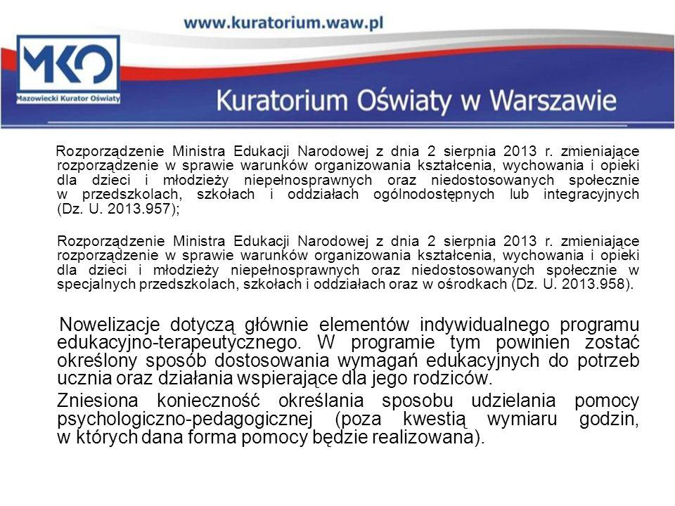 Rozporządzenie Ministra Edukacji Narodowej z dnia 2 sierpnia 2013 r