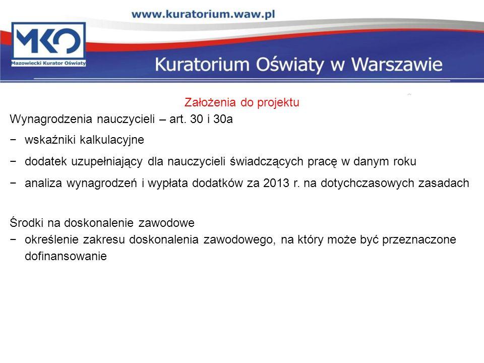 Założenia do projektu Wynagrodzenia nauczycieli – art. 30 i 30a. wskaźniki kalkulacyjne.
