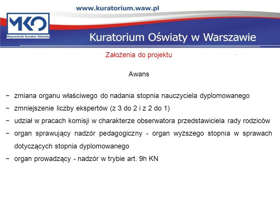 Założenia do projektu Awans. zmiana organu właściwego do nadania stopnia nauczyciela dyplomowanego.