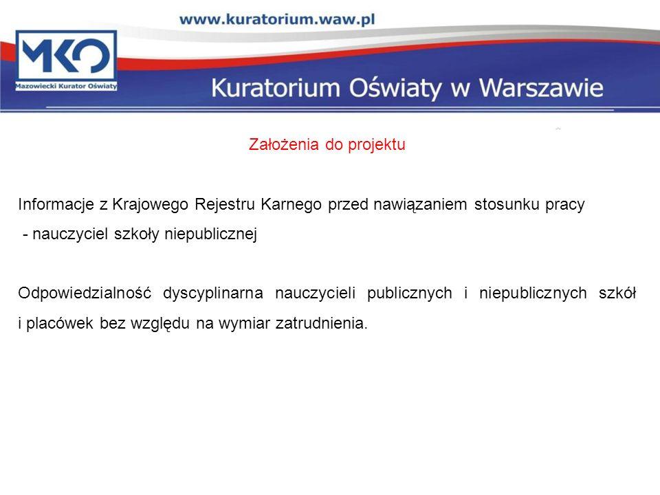 Założenia do projektu Informacje z Krajowego Rejestru Karnego przed nawiązaniem stosunku pracy. - nauczyciel szkoły niepublicznej.