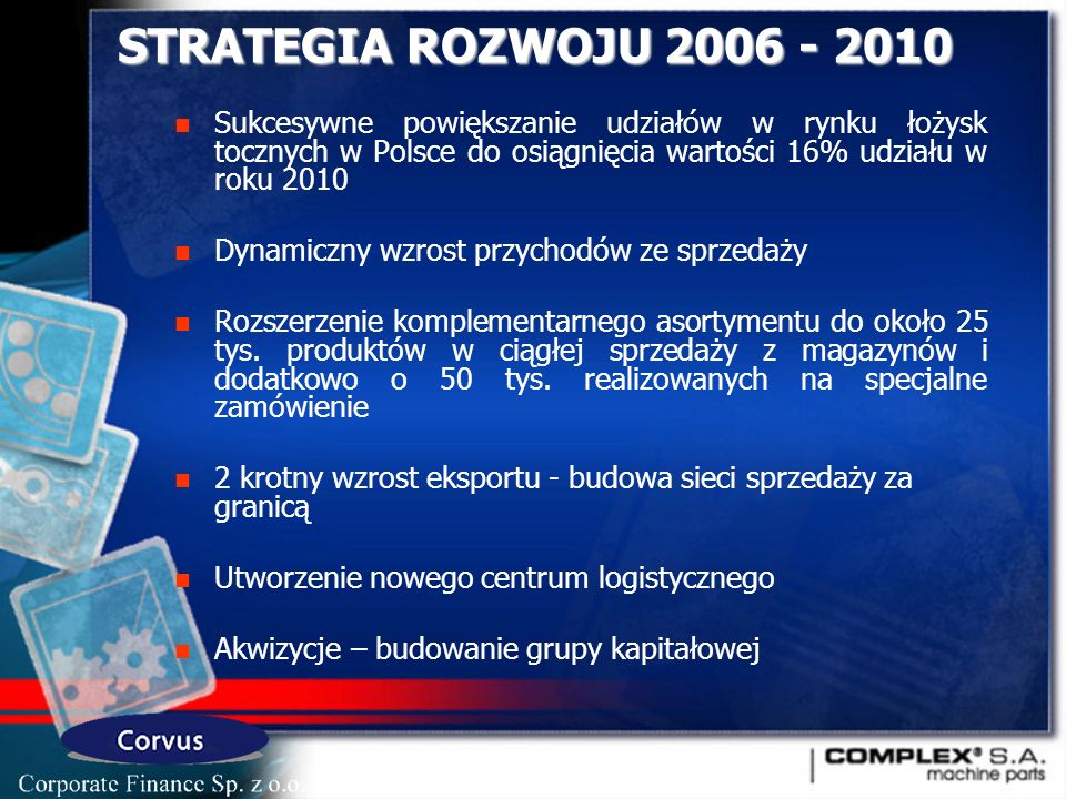STRATEGIA ROZWOJU 2006 - 2010 Sukcesywne powiększanie udziałów w rynku łożysk tocznych w Polsce do osiągnięcia wartości 16% udziału w roku 2010.