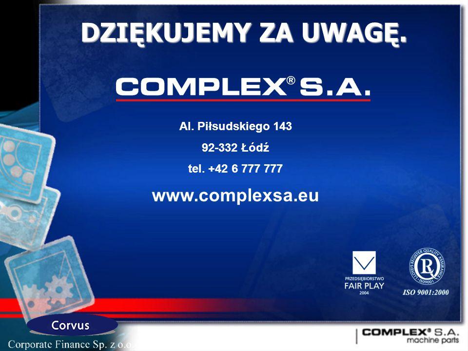 DZIĘKUJEMY ZA UWAGĘ. www.complexsa.eu Al. Piłsudskiego 143 92-332 Łódź