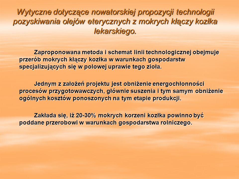 Wytyczne dotyczące nowatorskiej propozycji technologii pozyskiwania olejów eterycznych z mokrych kłączy kozłka lekarskiego.