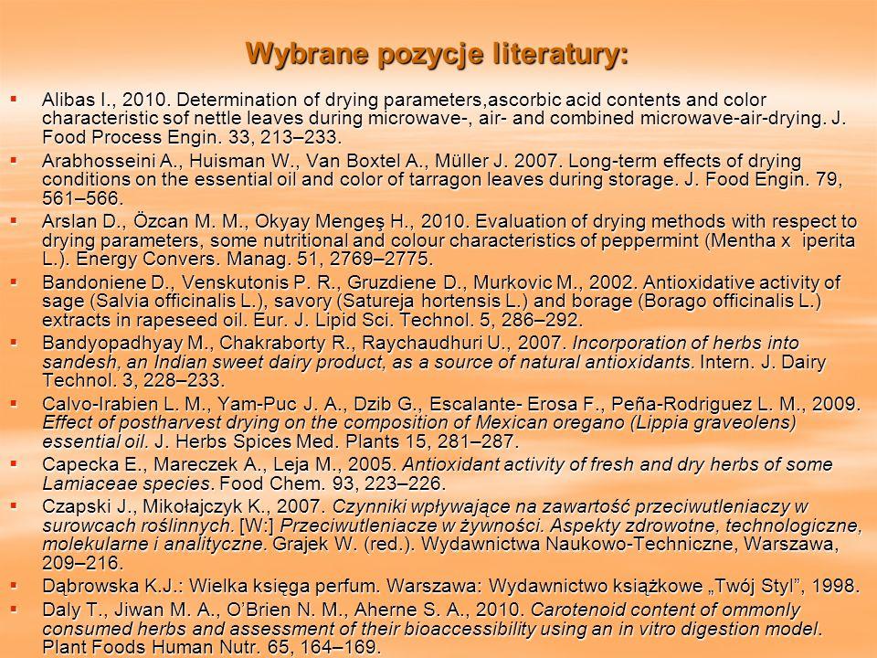 Wybrane pozycje literatury: