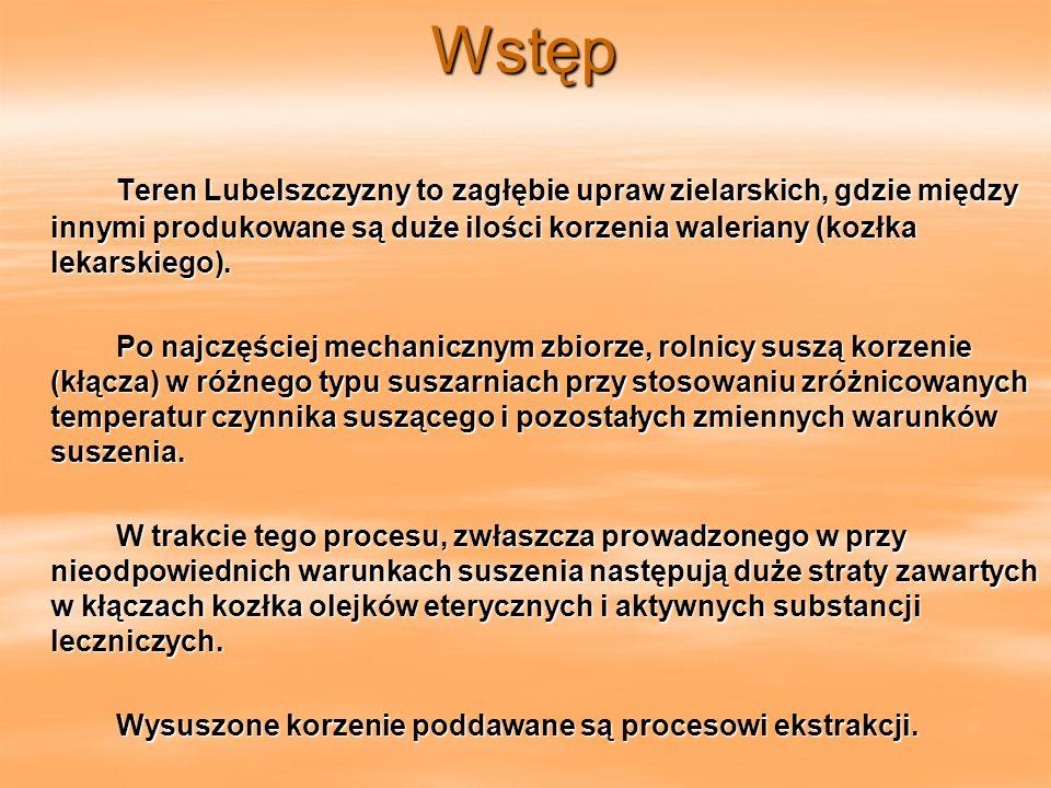 Wstęp Teren Lubelszczyzny to zagłębie upraw zielarskich, gdzie między innymi produkowane są duże ilości korzenia waleriany (kozłka lekarskiego).