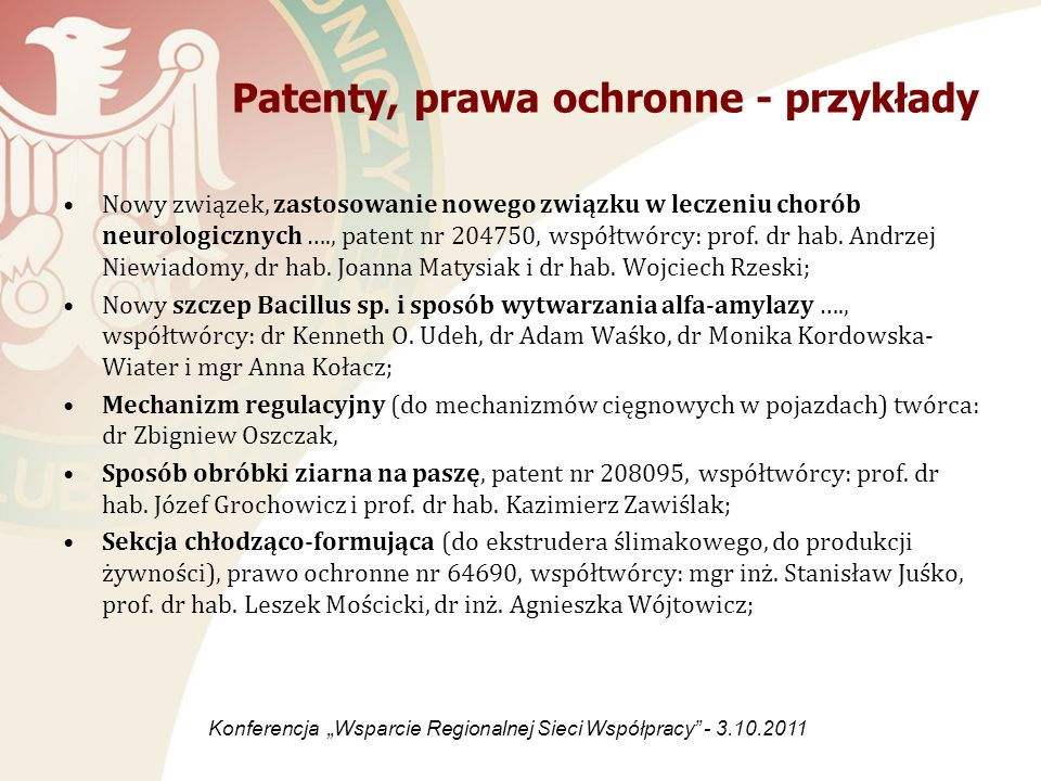 Patenty, prawa ochronne - przykłady
