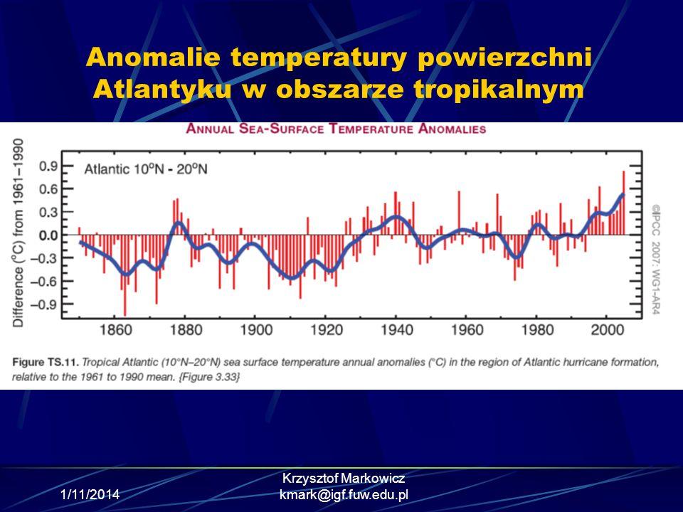Anomalie temperatury powierzchni Atlantyku w obszarze tropikalnym