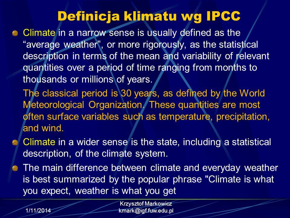 Definicja klimatu wg IPCC
