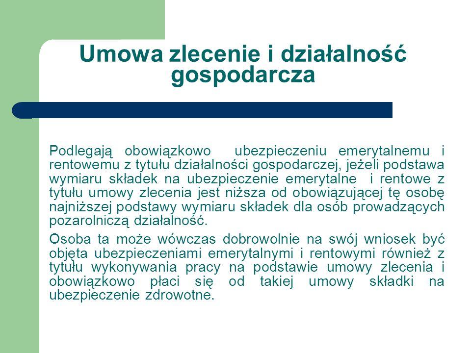 Umowa zlecenie i działalność gospodarcza