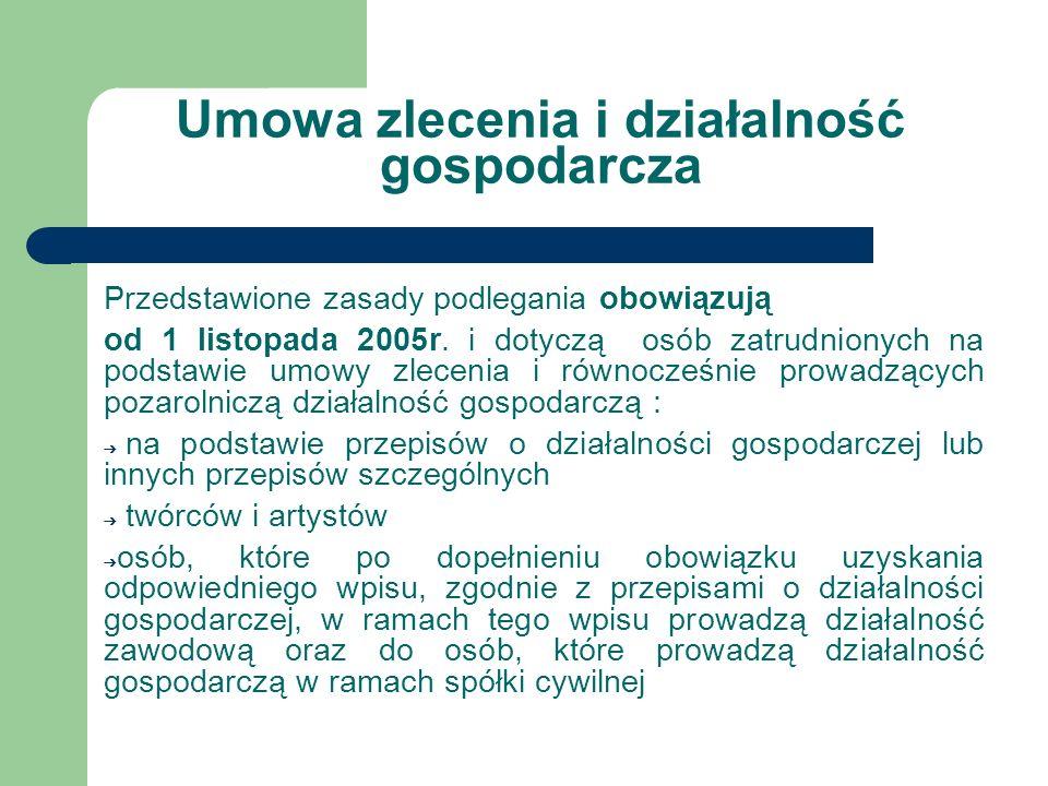 Umowa zlecenia i działalność gospodarcza