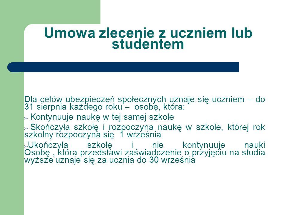 Umowa zlecenie z uczniem lub studentem