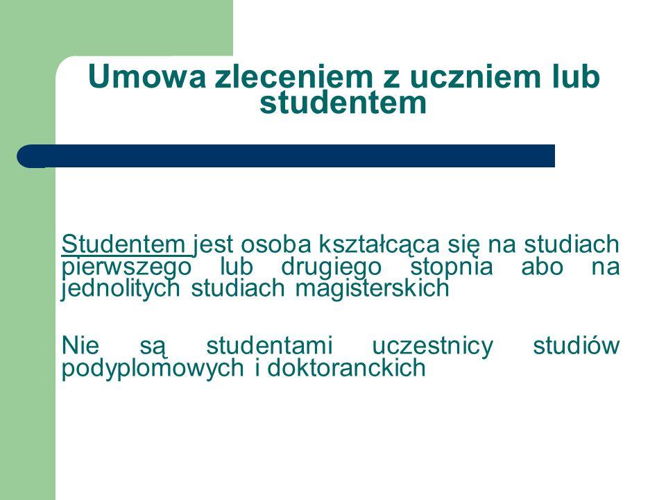 Umowa zleceniem z uczniem lub studentem