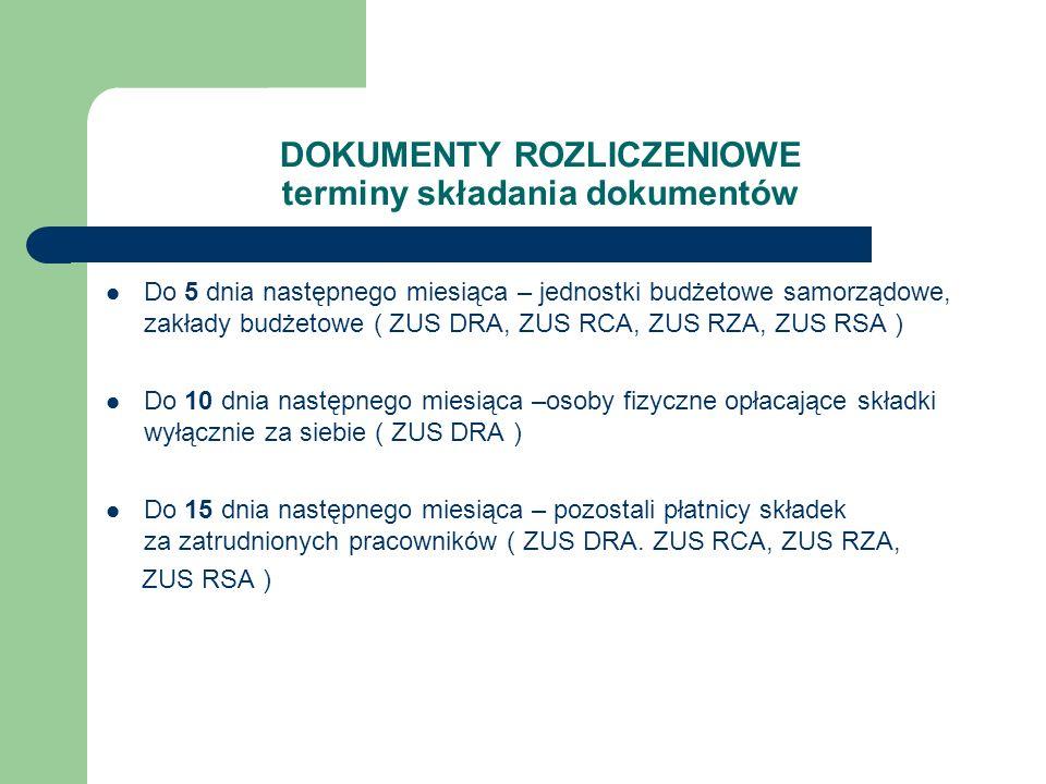 DOKUMENTY ROZLICZENIOWE terminy składania dokumentów