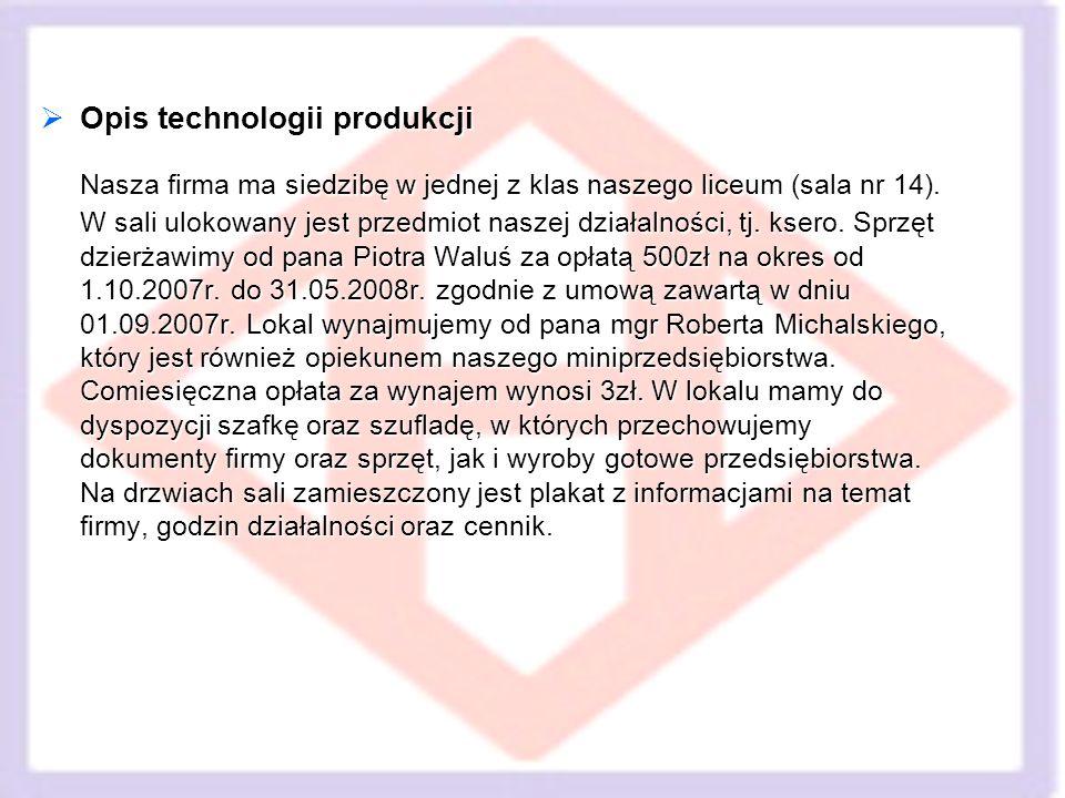 Opis technologii produkcji