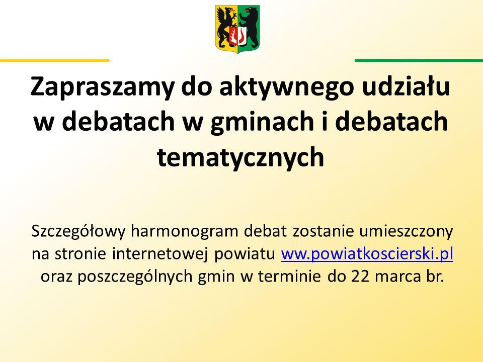 Zapraszamy do aktywnego udziału w debatach w gminach i debatach tematycznych