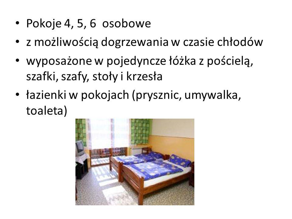 Pokoje 4, 5, 6 osobowe z możliwością dogrzewania w czasie chłodów. wyposażone w pojedyncze łóżka z pościelą, szafki, szafy, stoły i krzesła.