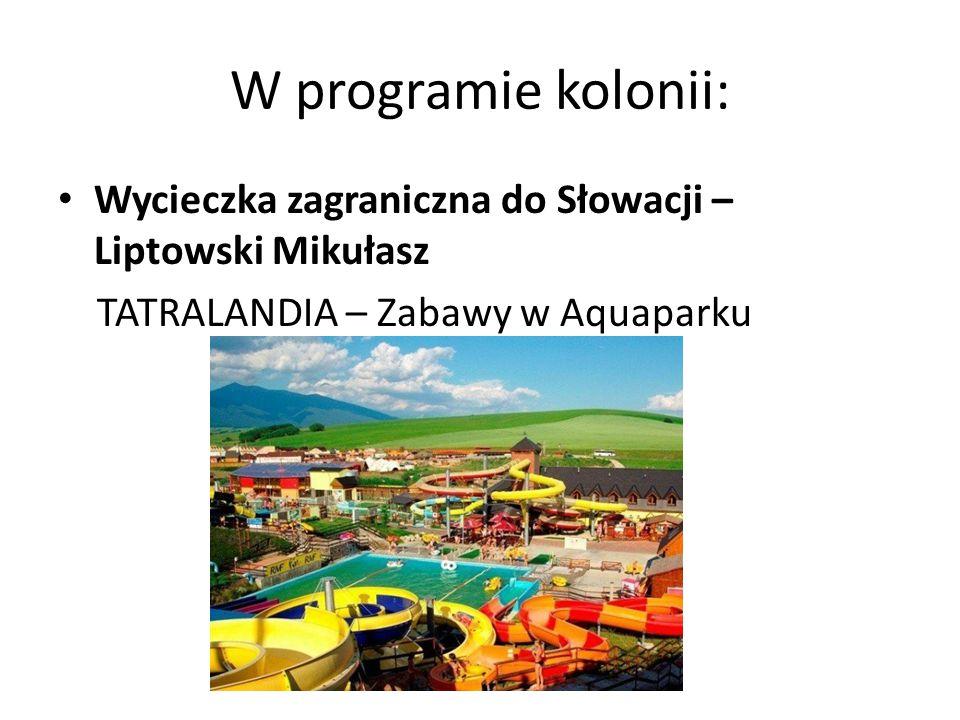 W programie kolonii: Wycieczka zagraniczna do Słowacji – Liptowski Mikułasz.