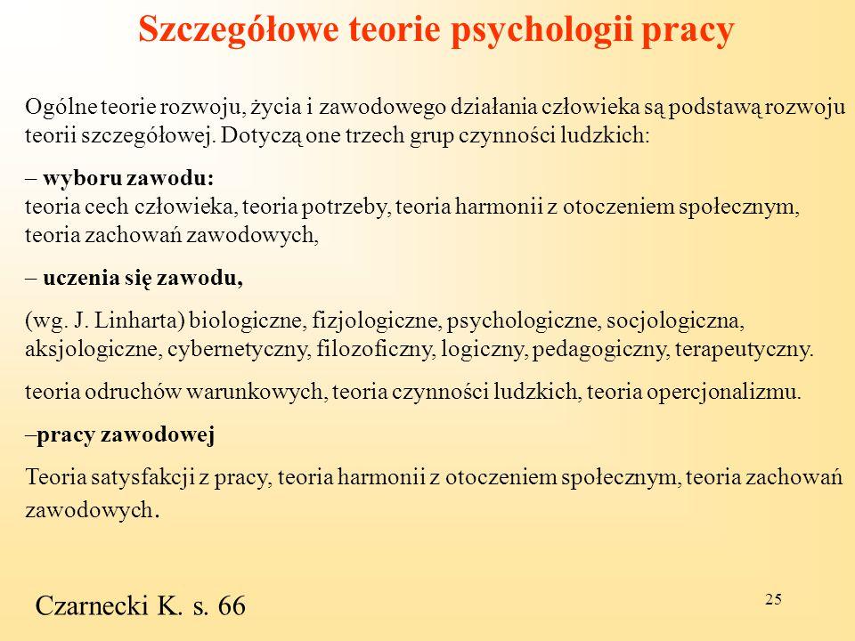 Szczegółowe teorie psychologii pracy