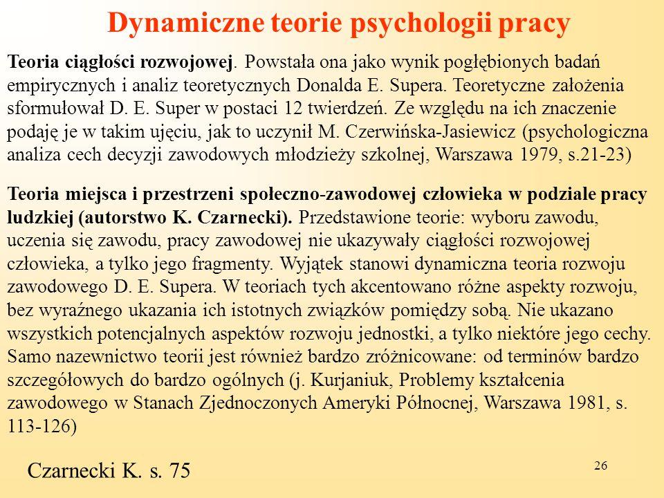 Dynamiczne teorie psychologii pracy