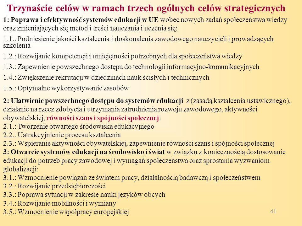 Trzynaście celów w ramach trzech ogólnych celów strategicznych