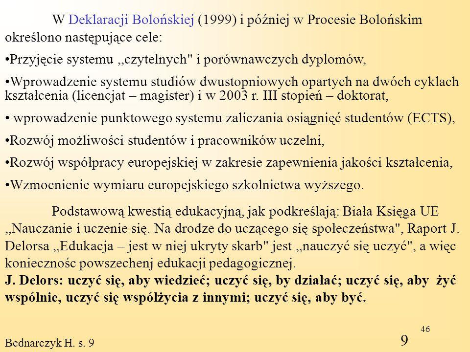 W Deklaracji Bolońskiej (1999) i później w Procesie Bolońskim określono następujące cele: