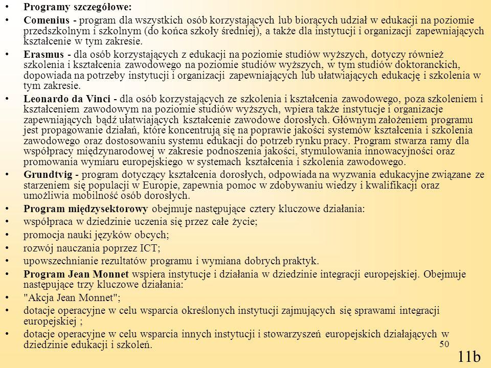 11b Programy szczegółowe: