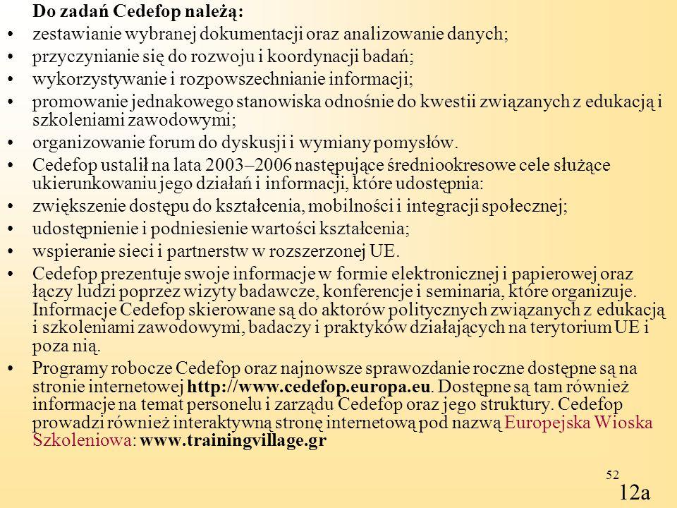 12a Do zadań Cedefop należą: